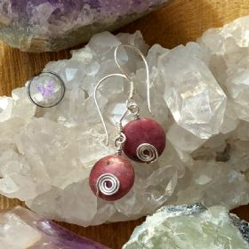 Silver Swirl Rhodonite Coin Earrings
